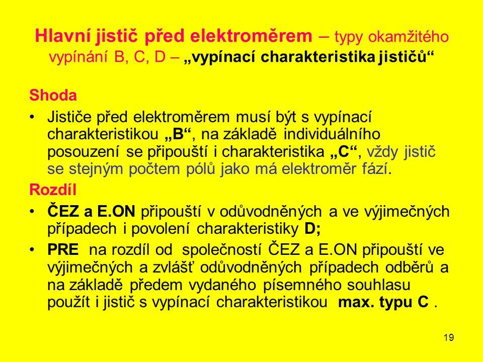 """19 Hlavní jistič před elektroměrem – typy okamžitého vypínání B, C, D – """"vypínací charakteristika jističů"""" Shoda Jističe před elektroměrem musí být s"""