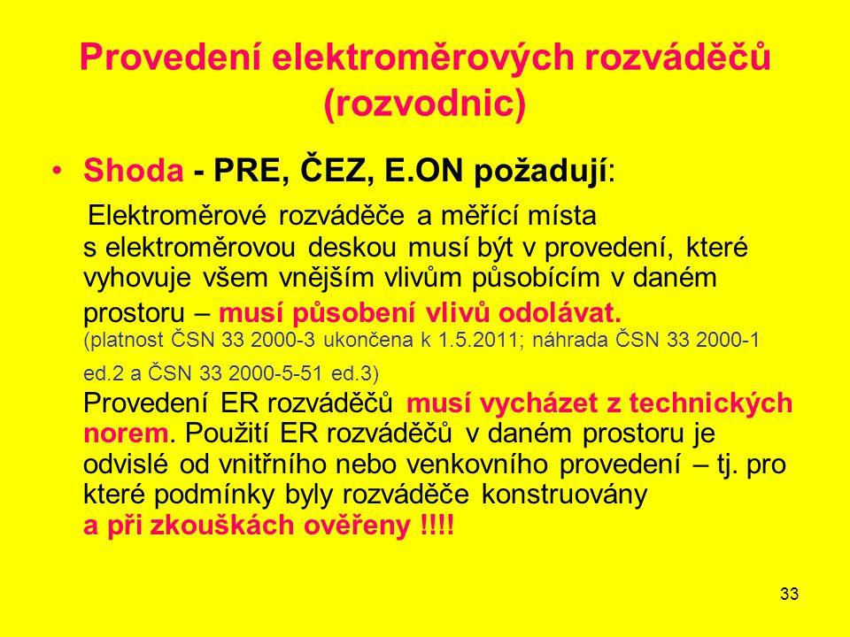 33 Provedení elektroměrových rozváděčů (rozvodnic) Shoda - PRE, ČEZ, E.ON požadují: Elektroměrové rozváděče a měřící místa s elektroměrovou deskou mus