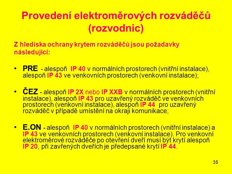 35 Provedení elektroměrových rozváděčů (rozvodnic) Z hlediska ochrany krytem rozváděčů jsou požadavky následující: PRE - alespoň IP 40 v normálních pr