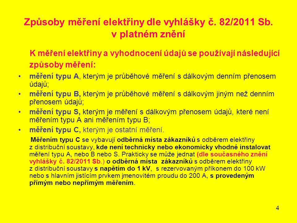 4 Způsoby měření elektřiny dle vyhlášky č. 82/2011 Sb. v platném znění K měření elektřiny a vyhodnocení údajů se používají následující způsoby měření: