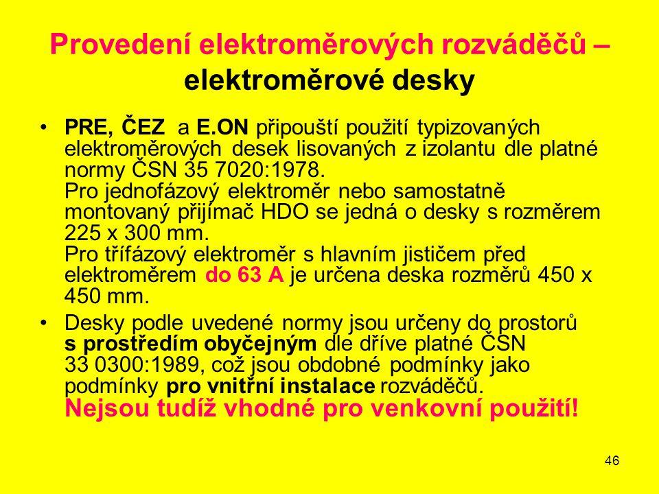 46 Provedení elektroměrových rozváděčů – elektroměrové desky PRE, ČEZ a E.ON připouští použití typizovaných elektroměrových desek lisovaných z izolant