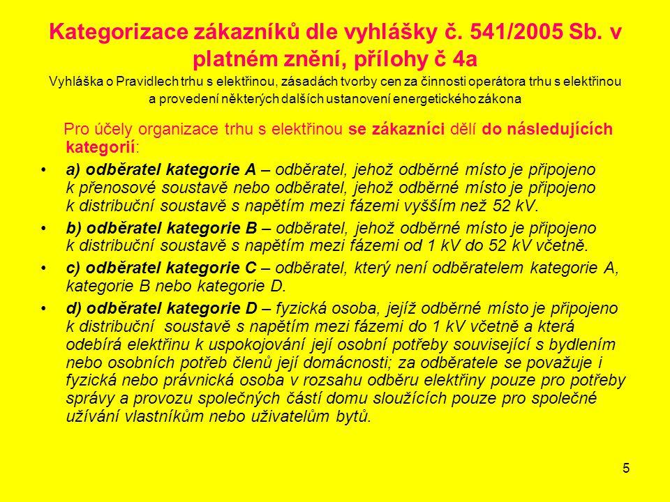 5 Kategorizace zákazníků dle vyhlášky č. 541/2005 Sb. v platném znění, přílohy č 4a Vyhláška o Pravidlech trhu s elektřinou, zásadách tvorby cen za či