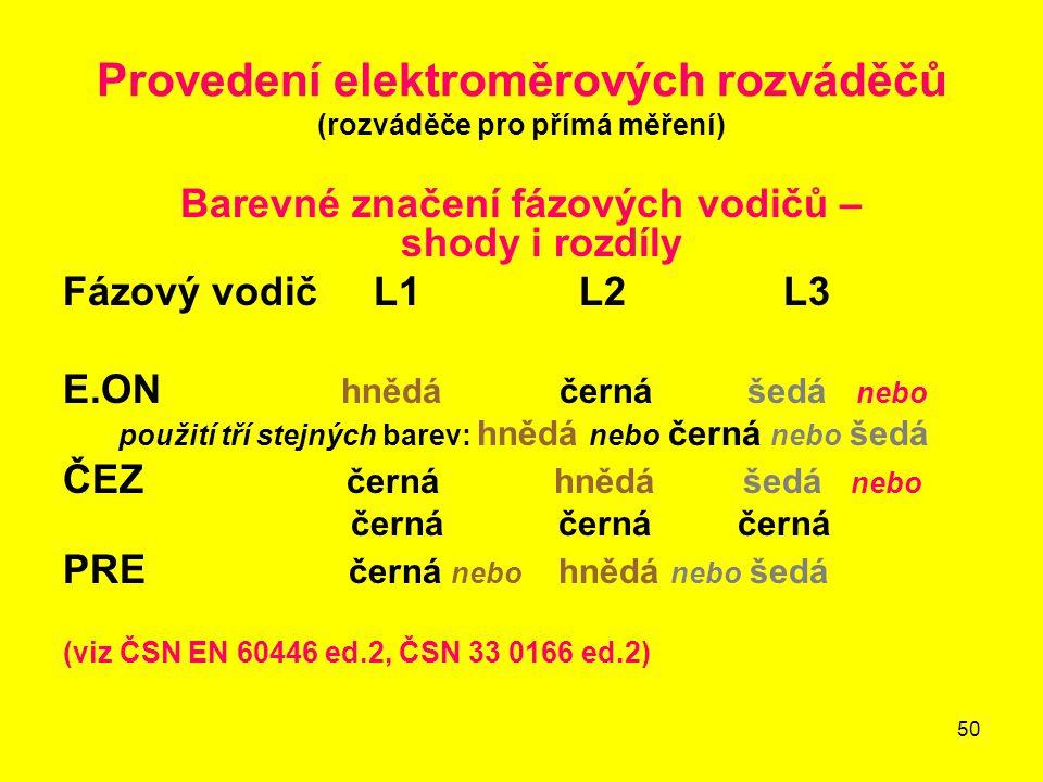 50 Provedení elektroměrových rozváděčů (rozváděče pro přímá měření) Barevné značení fázových vodičů – shody i rozdíly Fázový vodič L1 L2 L3 E.ON hnědá