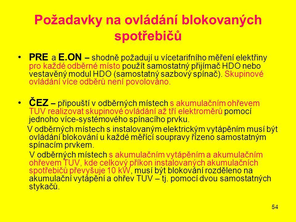 54 Požadavky na ovládání blokovaných spotřebičů PRE a E.ON – shodně požadují u vícetarifního měření elektřiny pro každé odběrné místo použít samostatn