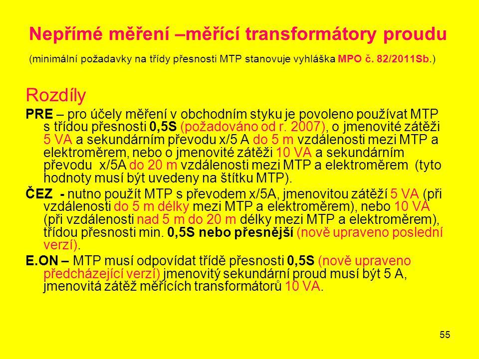 55 Nepřímé měření –měřící transformátory proudu (minimální požadavky na třídy přesnosti MTP stanovuje vyhláška MPO č. 82/2011Sb.) Rozdíly PRE – pro úč