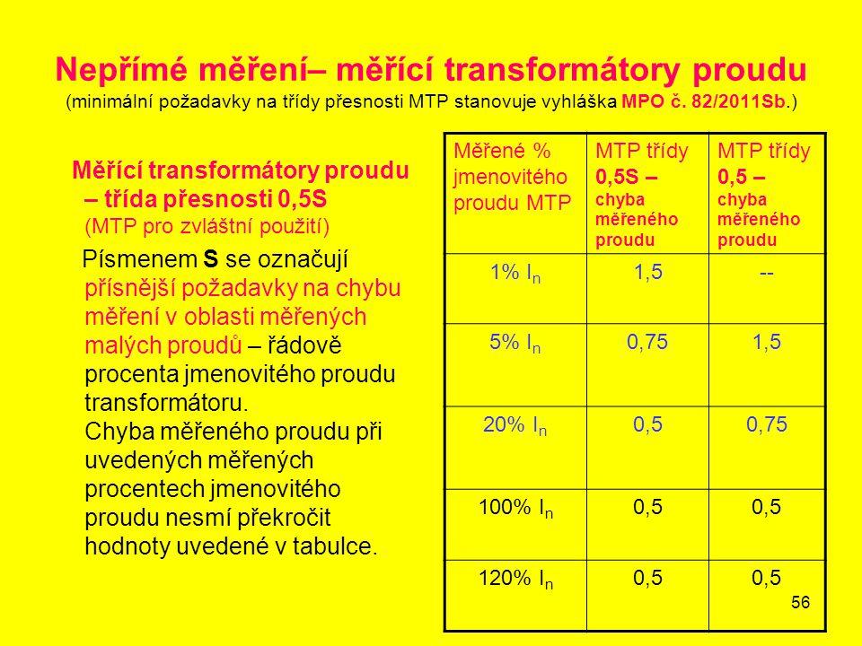 56 Nepřímé měření– měřící transformátory proudu (minimální požadavky na třídy přesnosti MTP stanovuje vyhláška MPO č. 82/2011Sb.) Měřící transformátor