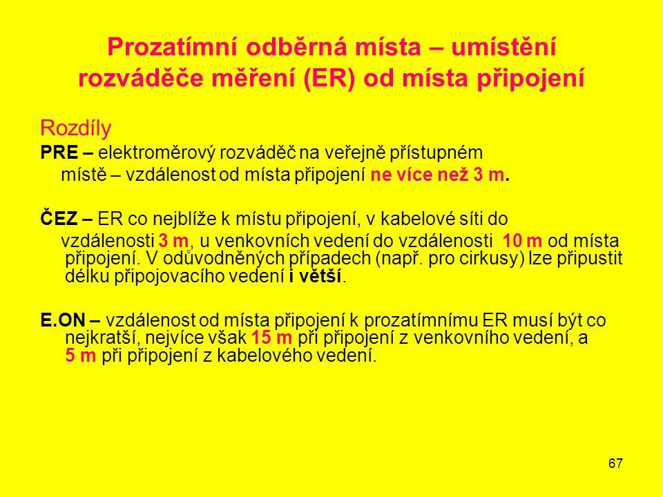67 Prozatímní odběrná místa – umístění rozváděče měření (ER) od místa připojení Rozdíly PRE – elektroměrový rozváděč na veřejně přístupném místě – vzd