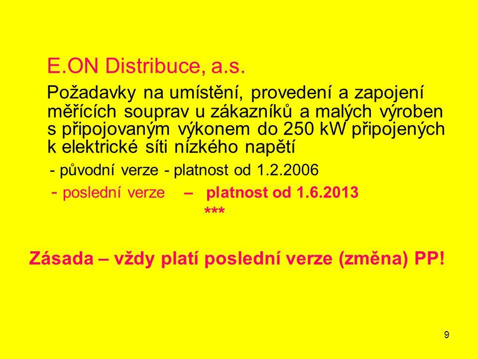20 Hlavní jistič před elektroměrem – jmenovitá zkratová vypínací schopnost jističů E.ON stanovuje pro hlavní jističe před elektroměrem požadavek na minimální jmenovitou zkratovou vypínací schopnost 10 kA s výjimkou případů, kdy je tato stanovena výpočtem ve smlouvě o připojení (připojení blízko trafostanice).