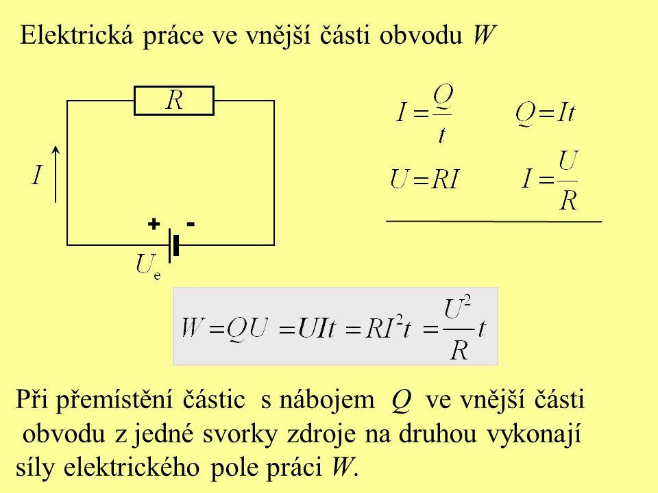 Při přemístění částic s nábojem Q ve vnější části obvodu z jedné svorky zdroje na druhou vykonají síly elektrického pole práci W.
