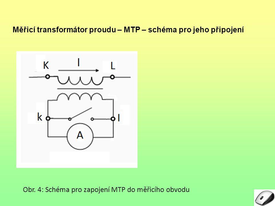 Měřicí transformátor proudu – MTP – schéma pro jeho připojení Obr.