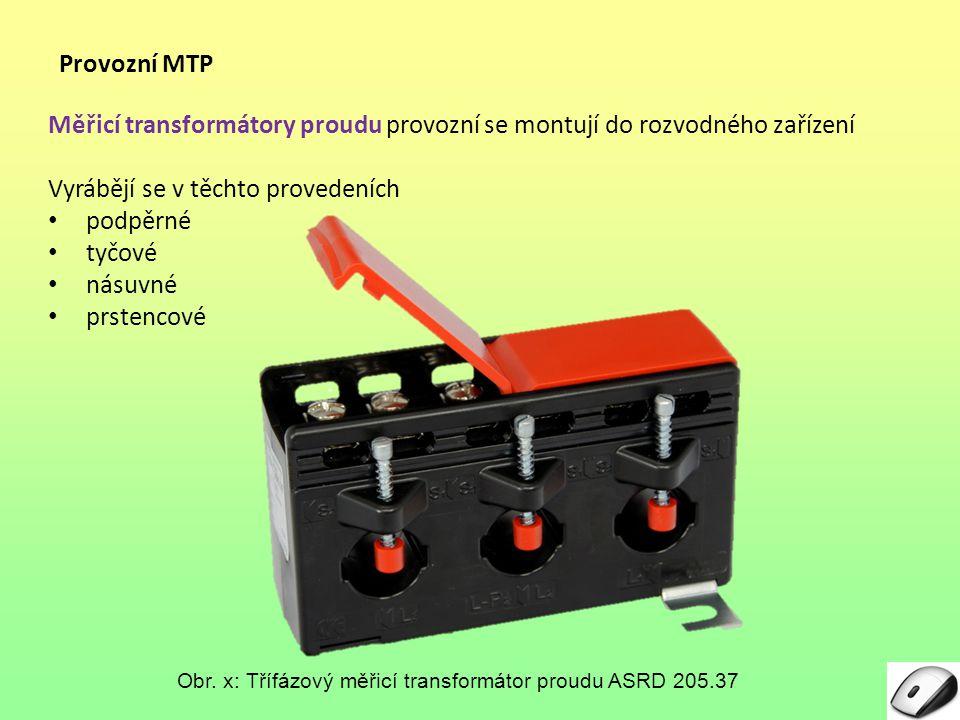 Měřicí transformátory proudu provozní se montují do rozvodného zařízení Vyrábějí se v těchto provedeních podpěrné tyčové násuvné prstencové Provozní MTP Obr.