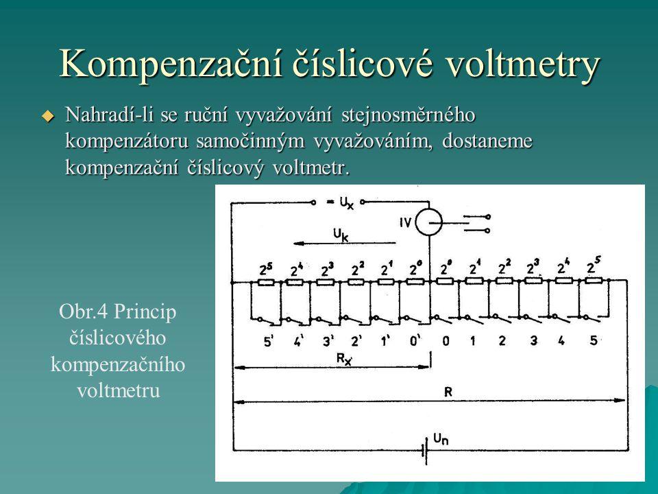 Kompenzační číslicové voltmetry  Nahradí-li se ruční vyvažování stejnosměrného kompenzátoru samočinným vyvažováním, dostaneme kompenzační číslicový v
