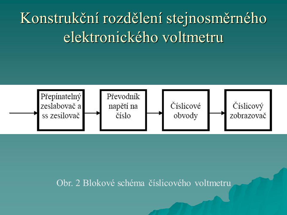 Konstrukční rozdělení stejnosměrného elektronického voltmetru Obr. 2 Blokové schéma číslicového voltmetru