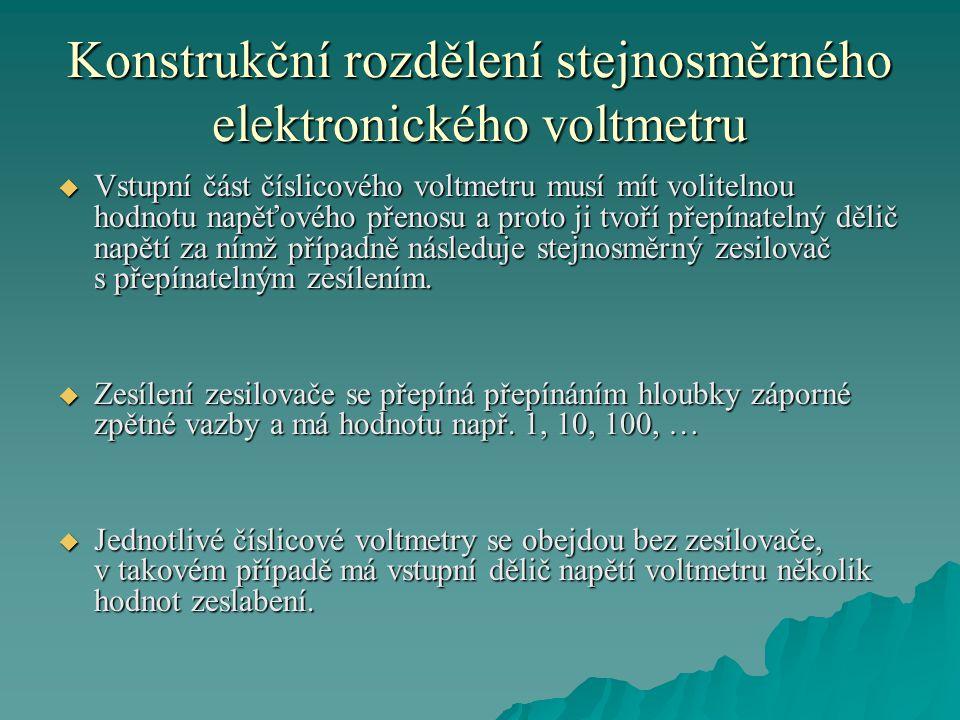 Konstrukční rozdělení stejnosměrného elektronického voltmetru  Vstupní část číslicového voltmetru musí mít volitelnou hodnotu napěťového přenosu a pr