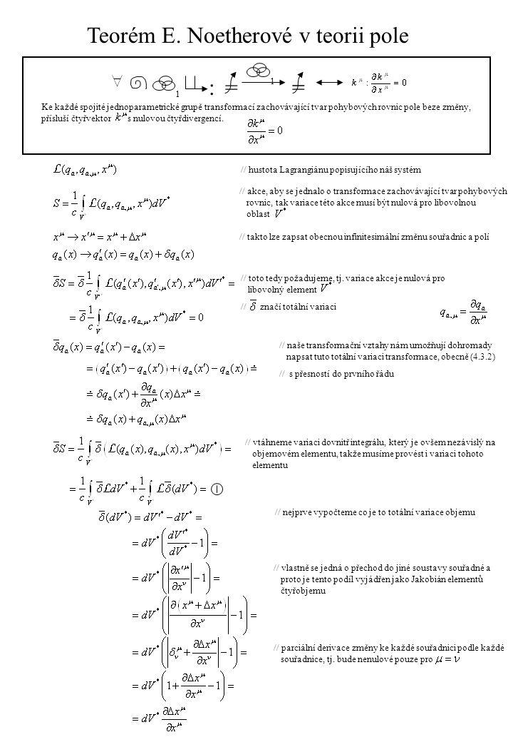 // opět zde byl použit analogický postup pro zjištění totální variace jako u totální variace transformací // k dalším úpravám potřebujeme vědět jak vypadá variace hustoty Lagrangeovy funkce // k odvození variace použijeme tento postup: // totální variaci hustoty Langrangiánu získáme stejně jako v případě transformací pole // zjednodušíme díky tomu, že máme pohybové rovnice vzniklé z Lagrangoeovy funkce Hamiltonovým formalismem: // pozor.