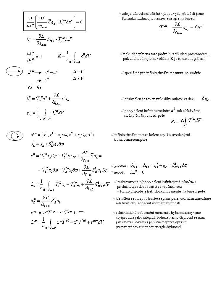 // předefinujme si tenzor energie hybnosti takto, kde Q je libovolný antisymetrický tenzor // předpokládejme navíc toto (symetrie) // tenzor momentu hybnosti pak definujeme takto // takovýto tenzor momentu hybnosti, definovaný ze symetrického tenzoru energie-hybnosti je zachovávající se veličinou // o našem starém tenzoru energie-hybnosti (nazývá se Canonický) víme toto a díky antisymetrii Q získáme to, že tuto rovnost splňuje i nově definovaný tenzor energie-hybnosti (nazývá se Symetrický) // zde je důkaz // u prvních dvou členů využijeme symetrie, u dalších vlastnost dokázanou výše