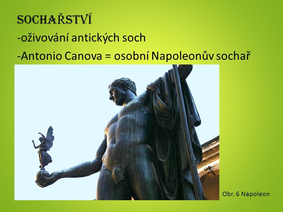 SOCHA Ř STVÍ -oživování antických soch -Antonio Canova = osobní Napoleonův sochař Obr. 6 Napoleon
