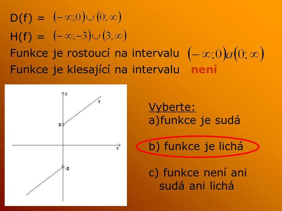 D(f) = H(f) = Funkce je rostoucí na intervalu Funkce je klesající na intervalunení Vyberte: a)funkce je sudá b) funkce je lichá c) funkce není ani sudá ani lichá