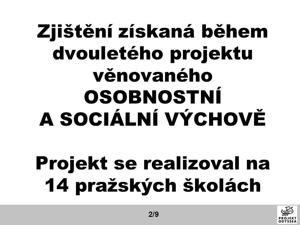 Zjištění získaná během dvouletého projektu věnovaného OSOBNOSTNÍ A SOCIÁLNÍ VÝCHOVĚ Projekt se realizoval na 14 pražských školách 2/9