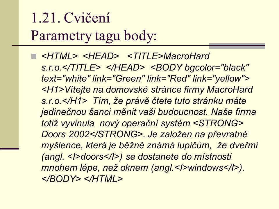 1.21. Cvičení Parametry tagu body: MacroHard s.r.o.