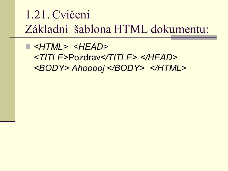 1.21. Cvičení Základní šablona HTML dokumentu: Pozdrav Ahooooj