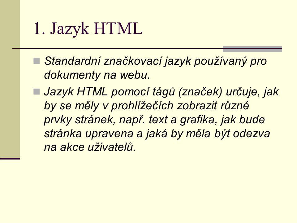 1. Jazyk HTML Standardní značkovací jazyk používaný pro dokumenty na webu.