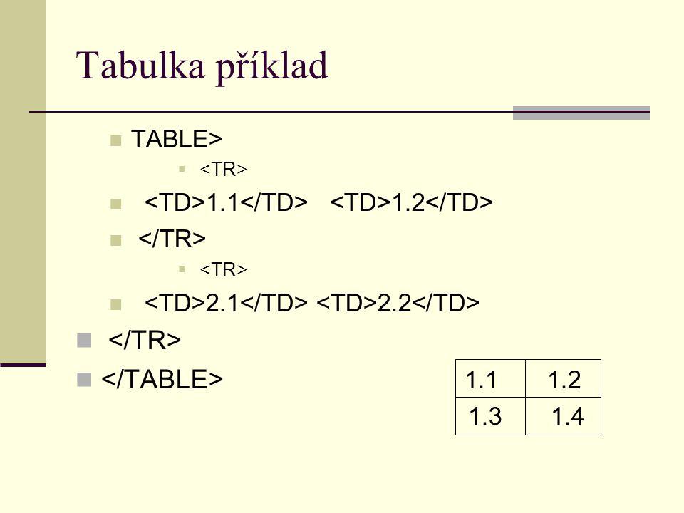 Tabulka příklad TABLE>  1.1 1.2  2.1 2.2 1.1 1.2 1.3 1.4