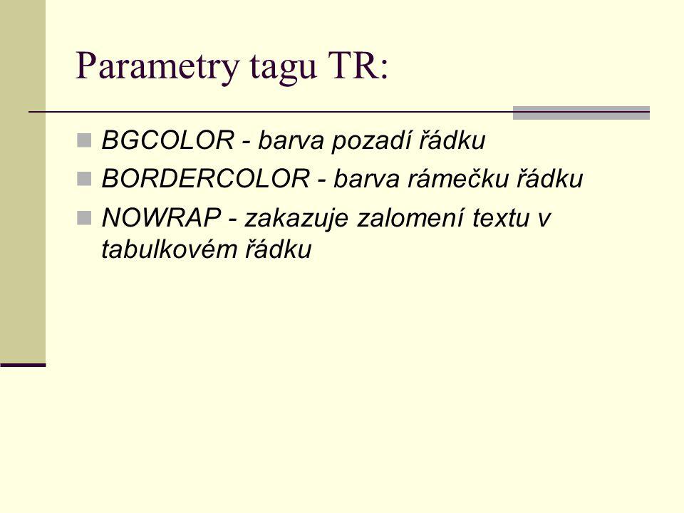 Parametry tagu TR: BGCOLOR - barva pozadí řádku BORDERCOLOR - barva rámečku řádku NOWRAP - zakazuje zalomení textu v tabulkovém řádku