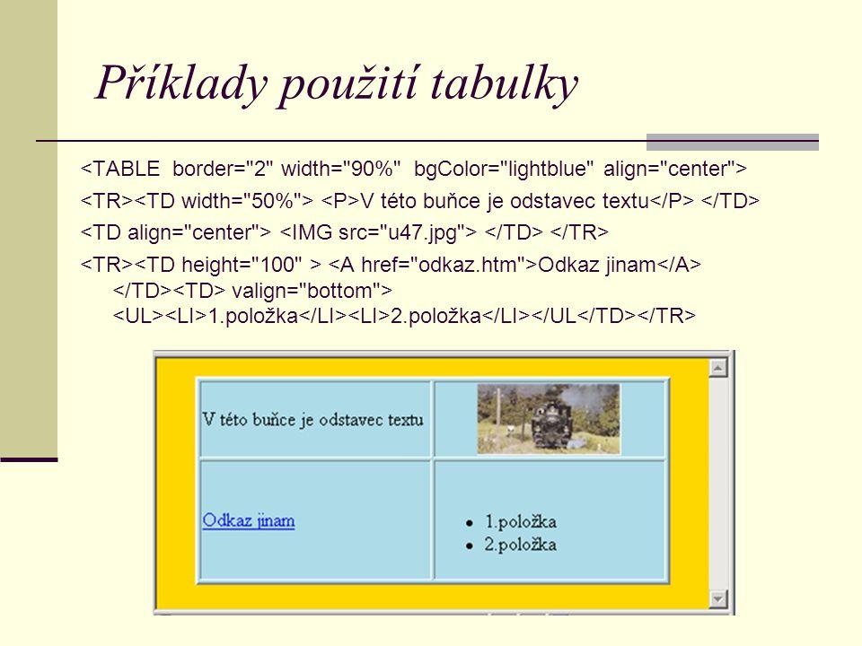 Příklady použití tabulky V této buňce je odstavec textu Odkaz jinam valign= bottom > 1.položka 2.položka