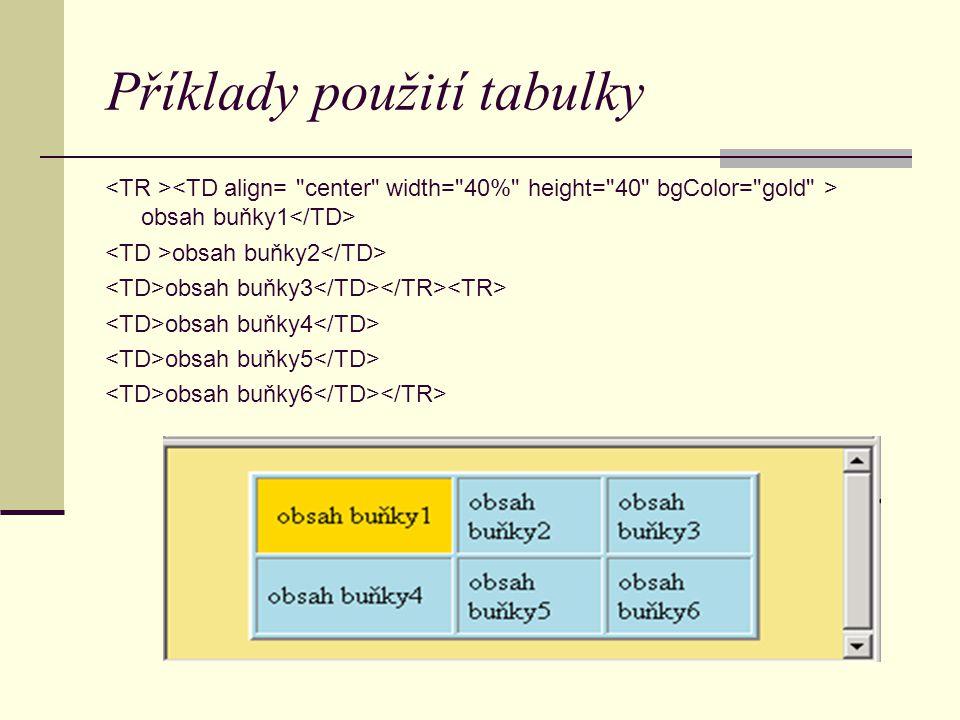Příklady použití tabulky obsah buňky1 obsah buňky2 obsah buňky3 obsah buňky4 obsah buňky5 obsah buňky6