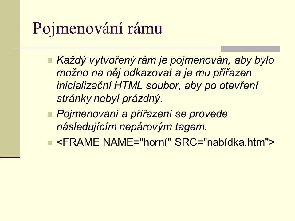Pojmenování rámu Každý vytvořený rám je pojmenován, aby bylo možno na něj odkazovat a je mu přiřazen inicializační HTML soubor, aby po otevření stránky nebyl prázdný.