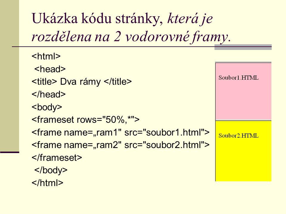Ukázka kódu stránky, která je rozdělena na 2 vodorovné framy. Dva rámy