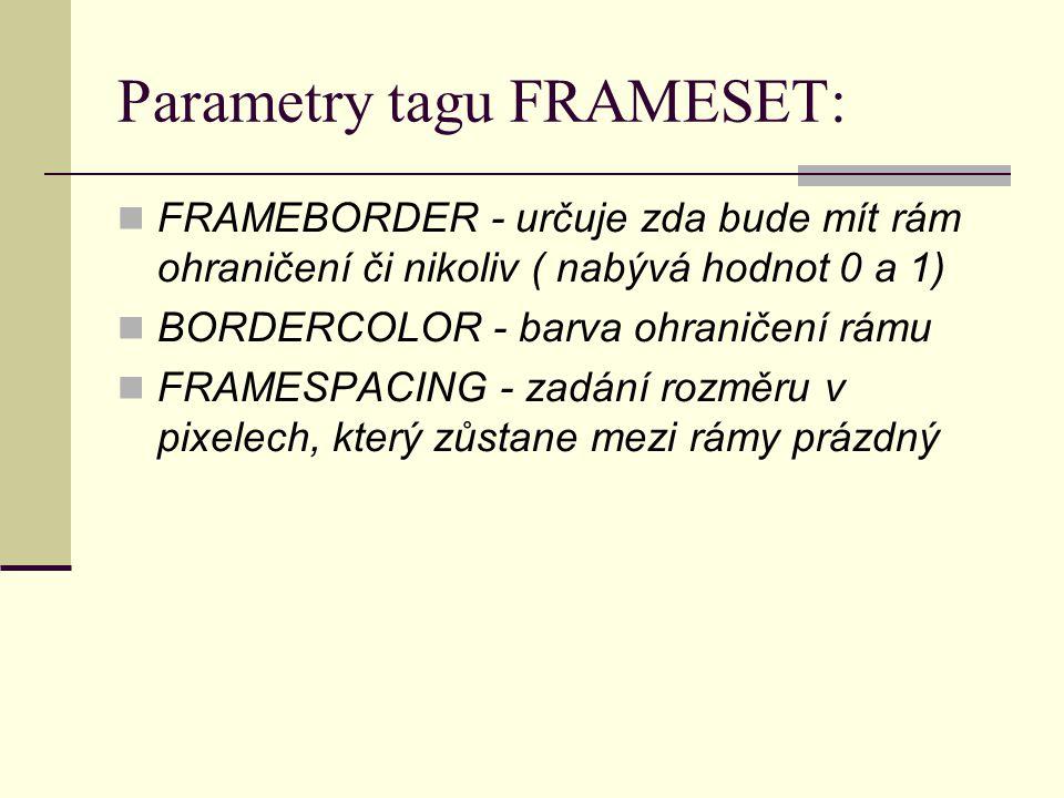 Parametry tagu FRAMESET: FRAMEBORDER - určuje zda bude mít rám ohraničení či nikoliv ( nabývá hodnot 0 a 1) BORDERCOLOR - barva ohraničení rámu FRAMESPACING - zadání rozměru v pixelech, který zůstane mezi rámy prázdný