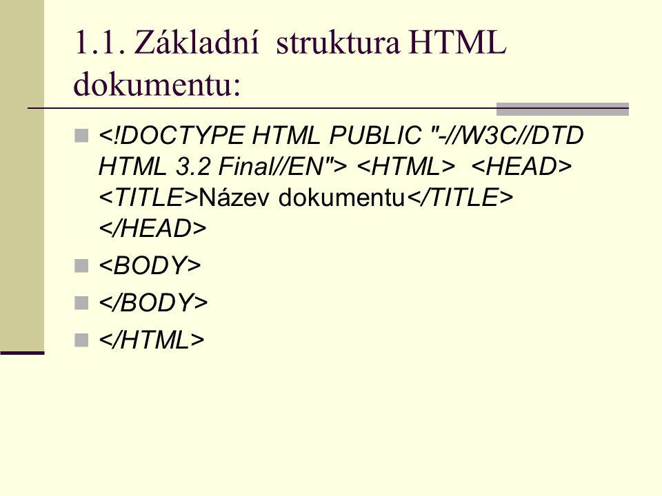 1.1. Základní struktura HTML dokumentu: Název dokumentu
