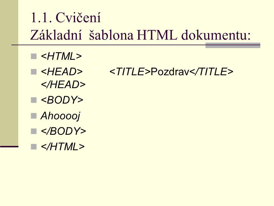 1.1. Cvičení Základní šablona HTML dokumentu: Pozdrav Ahooooj