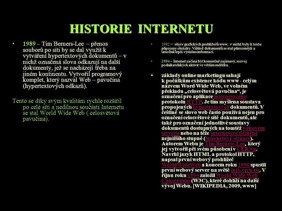 HISTORIE INTERNETU 1989 – Tim Berners-Lee – přenos souborů po síti by se dal využít k vytváření hypertextových dokumentů – v nichž označená slova odkazují na další dokumenty, jež se nacházejí třeba na jiném kontinentu.