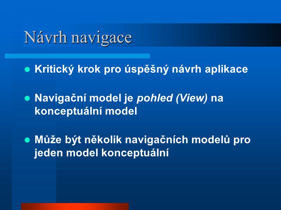 Návrh navigace Kritický krok pro úspěšný návrh aplikace Navigační model je pohled (View) na konceptuální model Může být několik navigačních modelů pro jeden model konceptuální