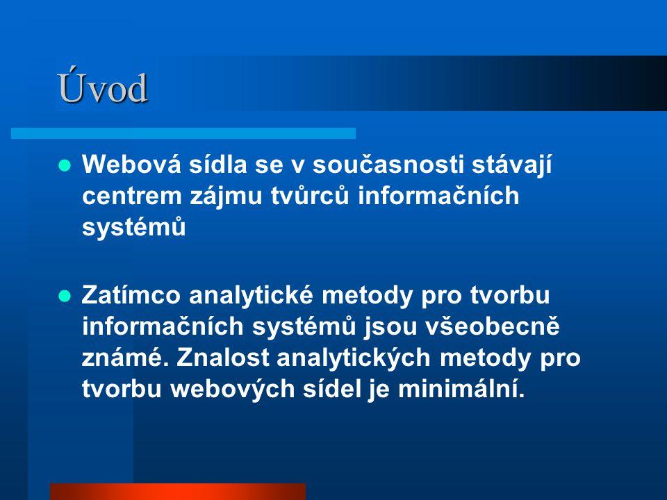 Úvod Webová sídla se v současnosti stávají centrem zájmu tvůrců informačních systémů Zatímco analytické metody pro tvorbu informačních systémů jsou všeobecně známé.
