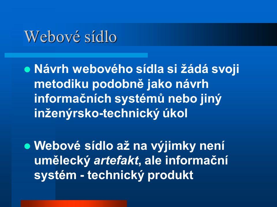 Webové sídlo Návrh webového sídla si žádá svoji metodiku podobně jako návrh informačních systémů nebo jiný inženýrsko-technický úkol Webové sídlo až na výjimky není umělecký artefakt, ale informační systém - technický produkt