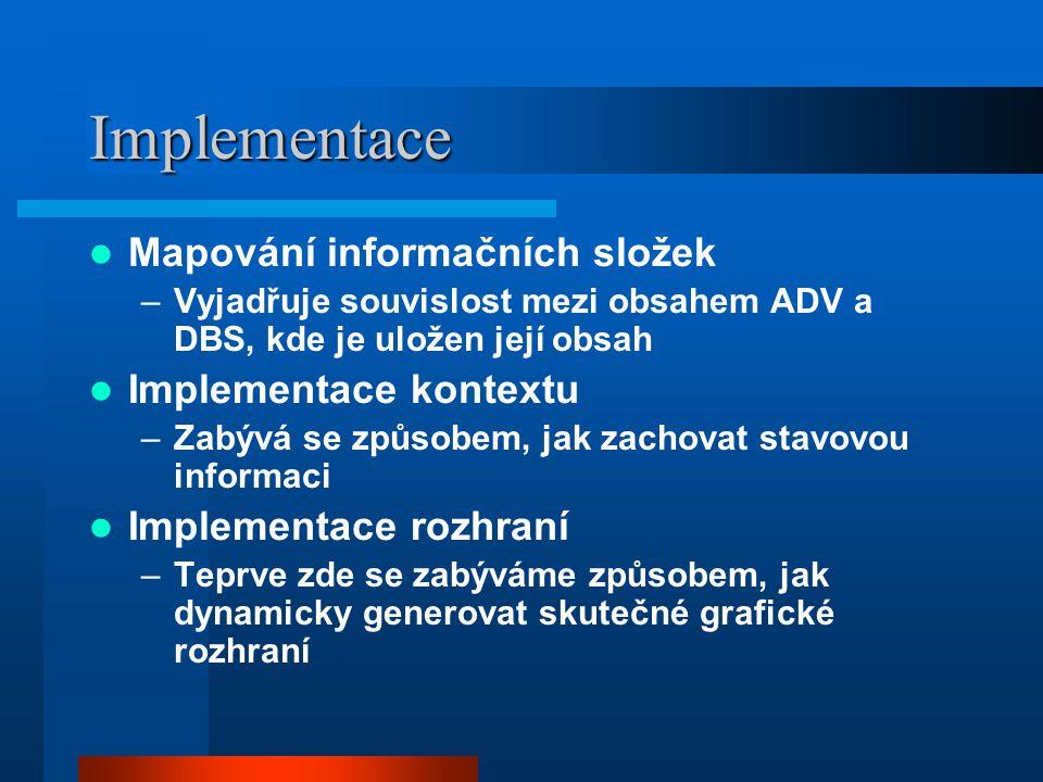 Implementace Mapování informačních složek –Vyjadřuje souvislost mezi obsahem ADV a DBS, kde je uložen její obsah Implementace kontextu –Zabývá se způsobem, jak zachovat stavovou informaci Implementace rozhraní –Teprve zde se zabýváme způsobem, jak dynamicky generovat skutečné grafické rozhraní