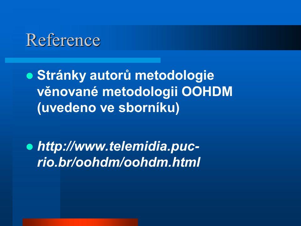 Reference Stránky autorů metodologie věnované metodologii OOHDM (uvedeno ve sborníku) http://www.telemidia.puc- rio.br/oohdm/oohdm.html
