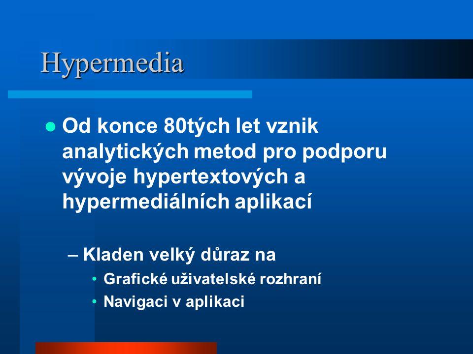 Hypermedia Od konce 80tých let vznik analytických metod pro podporu vývoje hypertextových a hypermediálních aplikací –Kladen velký důraz na Grafické uživatelské rozhraní Navigaci v aplikaci