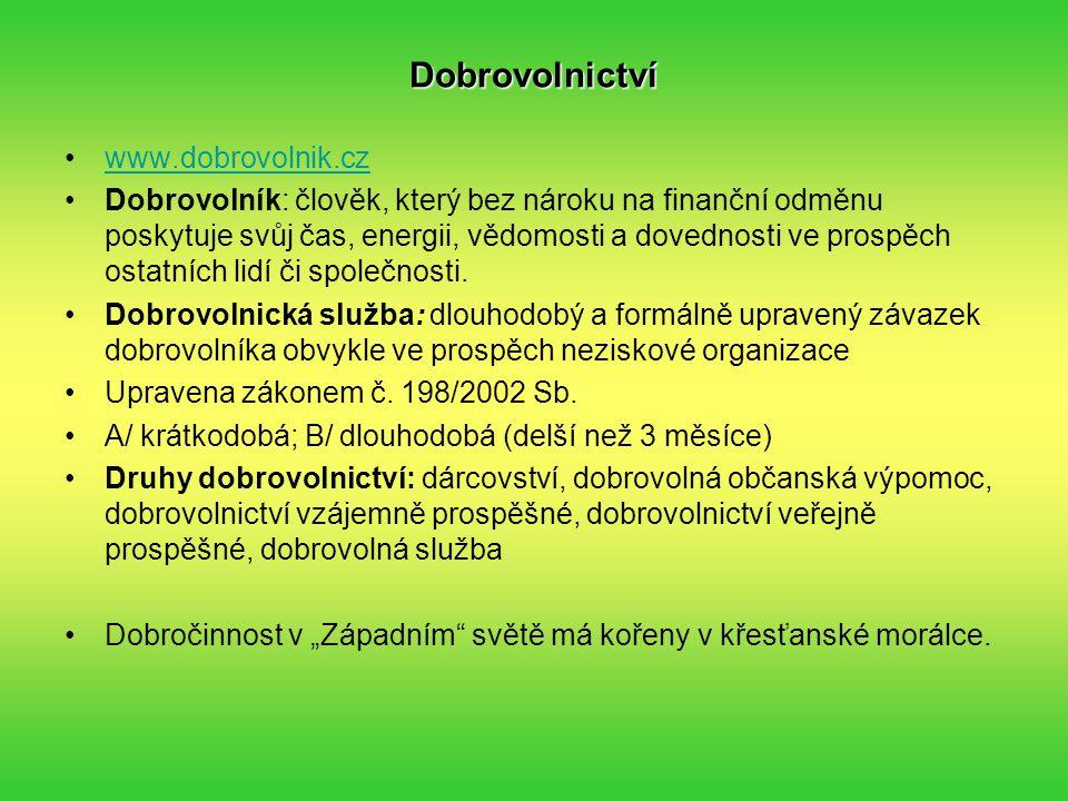 Dobrovolnictví www.dobrovolnik.cz Dobrovolník: člověk, který bez nároku na finanční odměnu poskytuje svůj čas, energii, vědomosti a dovednosti ve prospěch ostatních lidí či společnosti.
