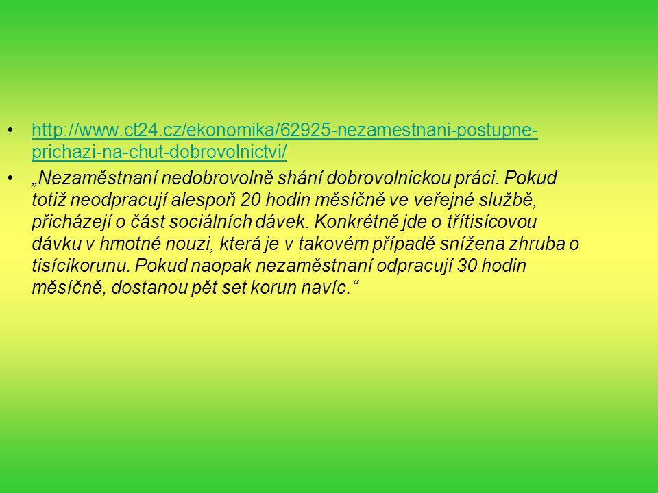 """http://www.ct24.cz/ekonomika/62925-nezamestnani-postupne- prichazi-na-chut-dobrovolnictvi/http://www.ct24.cz/ekonomika/62925-nezamestnani-postupne- prichazi-na-chut-dobrovolnictvi/ """"Nezaměstnaní nedobrovolně shání dobrovolnickou práci."""