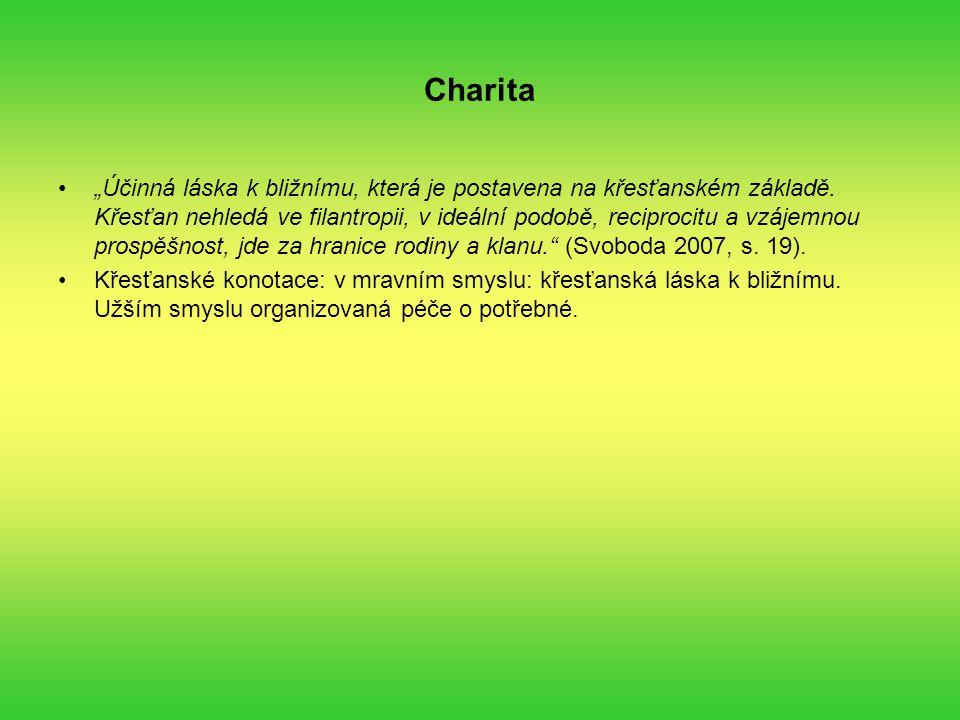 """Charita """"Účinná láska k bližnímu, která je postavena na křesťanském základě."""