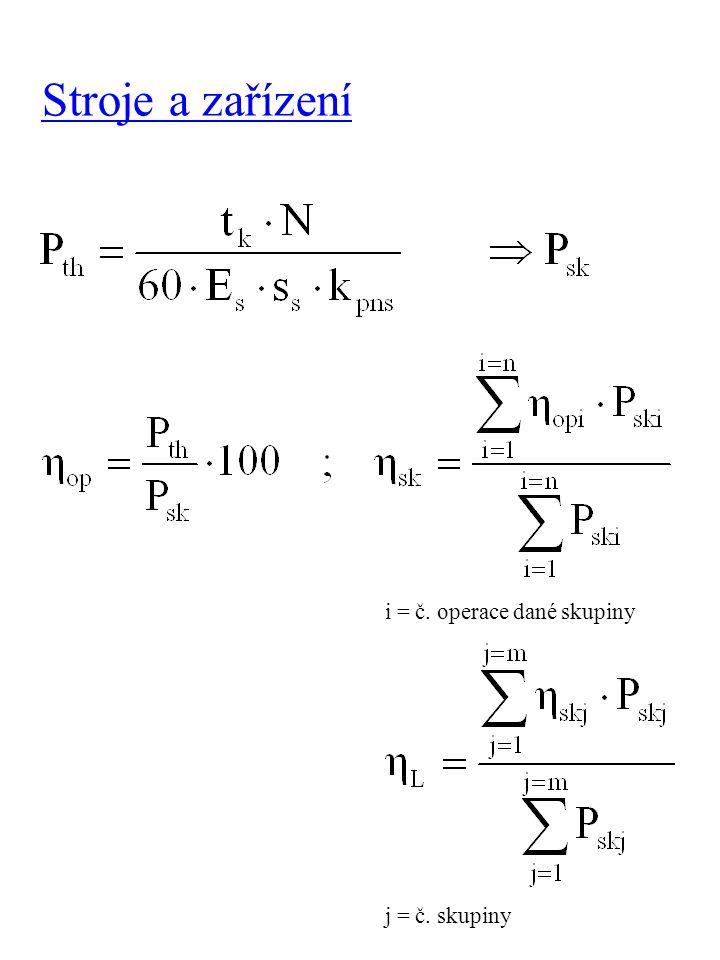 Stroje a zařízení i = č. operace dané skupiny j = č. skupiny