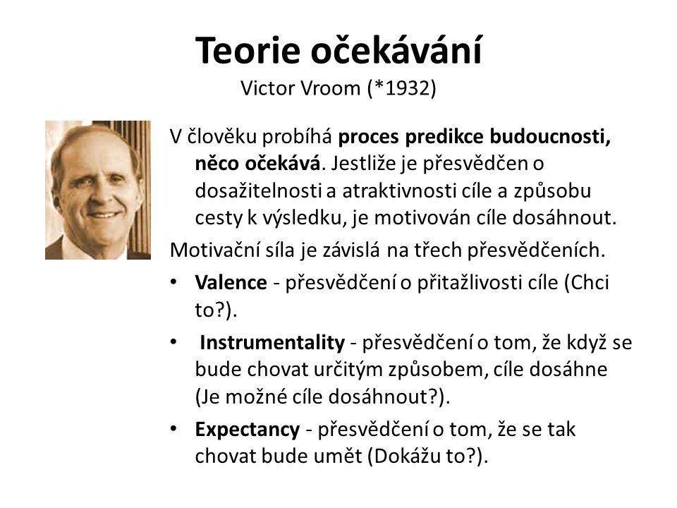Teorie očekávání Victor Vroom (*1932) V člověku probíhá proces predikce budoucnosti, něco očekává. Jestliže je přesvědčen o dosažitelnosti a atraktivn