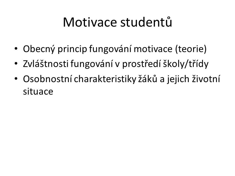 Motivace studentů Obecný princip fungování motivace (teorie) Zvláštnosti fungování v prostředí školy/třídy Osobnostní charakteristiky žáků a jejich ži