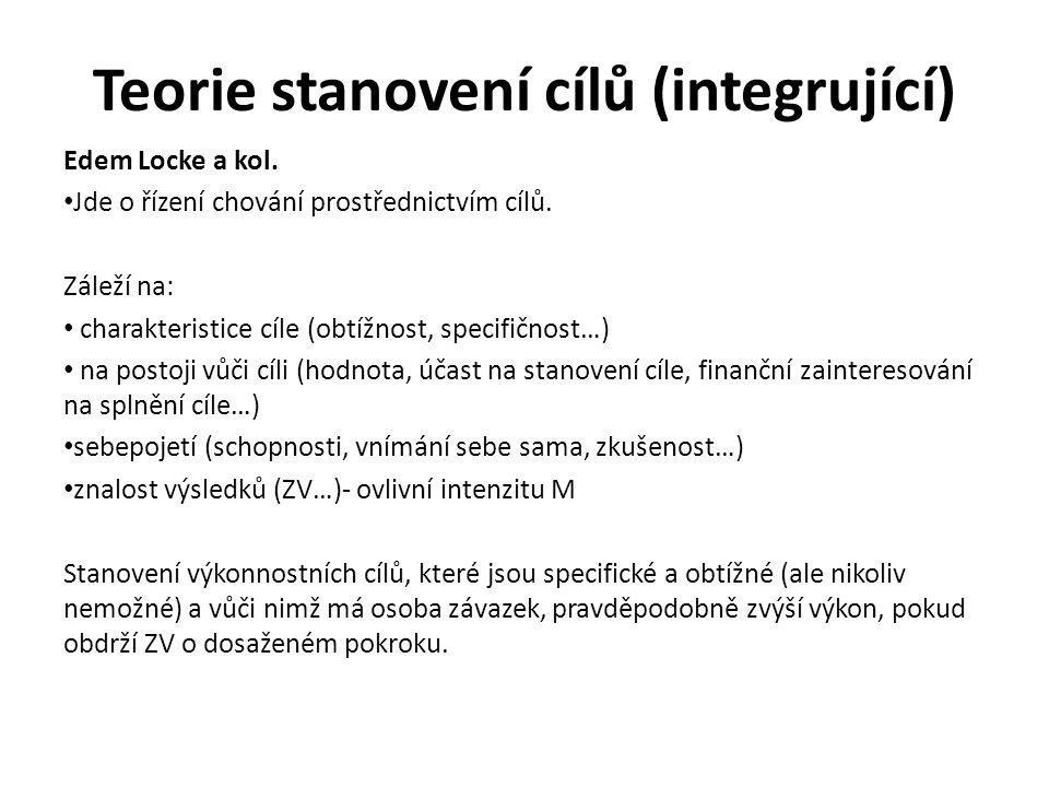 Teorie stanovení cílů (integrující) Edem Locke a kol. Jde o řízení chování prostřednictvím cílů. Záleží na: charakteristice cíle (obtížnost, specifičn