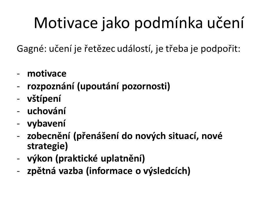 Motivace jako podmínka učení Gagné: učení je řetězec událostí, je třeba je podpořit: -motivace -rozpoznání (upoutání pozornosti) -vštípení -uchování -